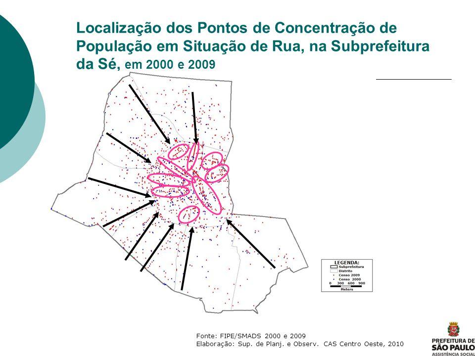 Localização dos Pontos de Concentração de População em Situação de Rua, na Subprefeitura da Sé, em 2000 e 2009 Fonte: FIPE/SMADS 2000 e 2009 Elaboraçã