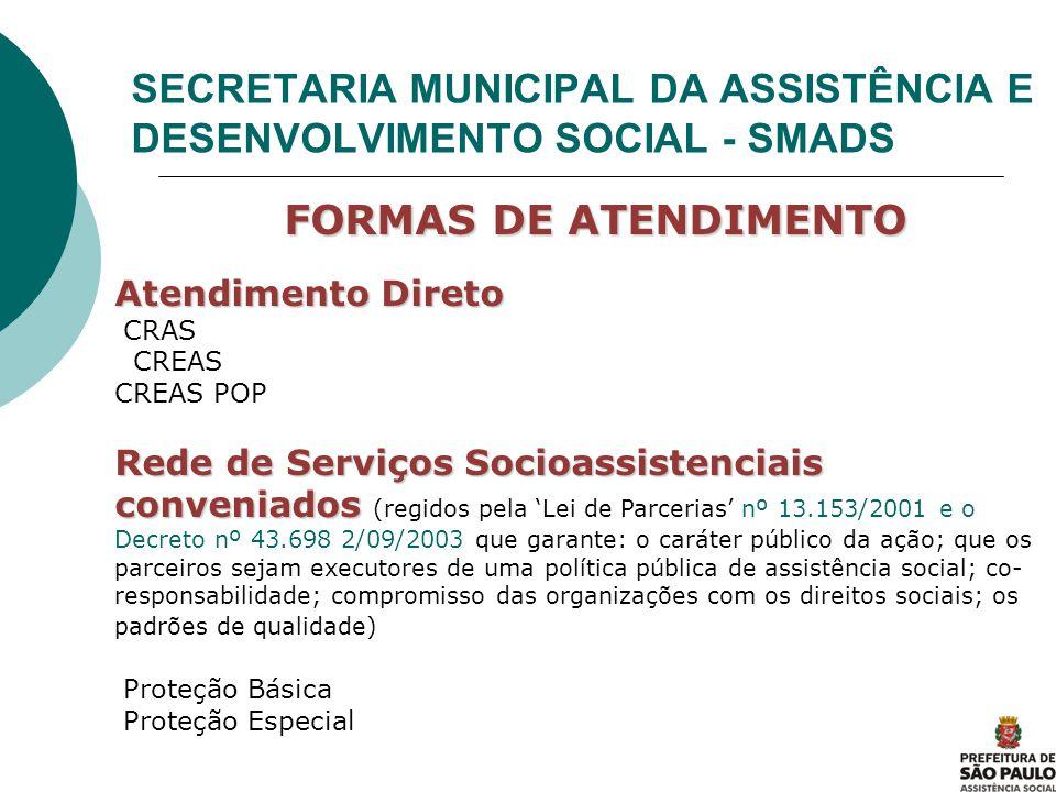 SECRETARIA MUNICIPAL DA ASSISTÊNCIA E DESENVOLVIMENTO SOCIAL - SMADS FORMAS DE ATENDIMENTO FORMAS DE ATENDIMENTO Atendimento Direto CRAS CREAS CREAS P