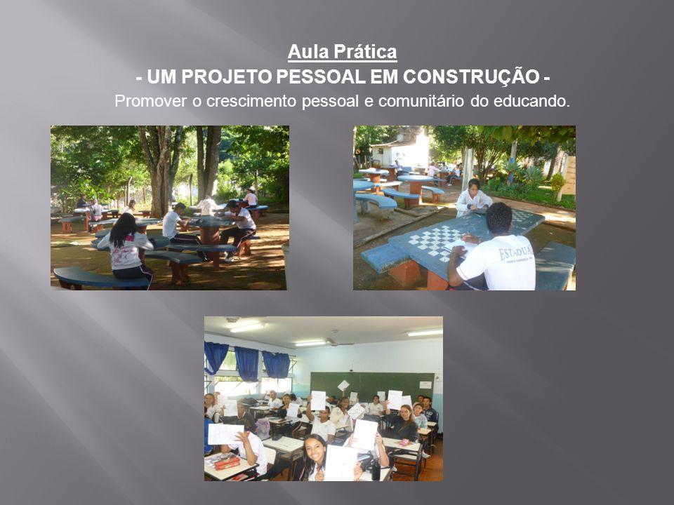 Aula Prática - UM PROJETO PESSOAL EM CONSTRUÇÃO - Promover o crescimento pessoal e comunitário do educando.