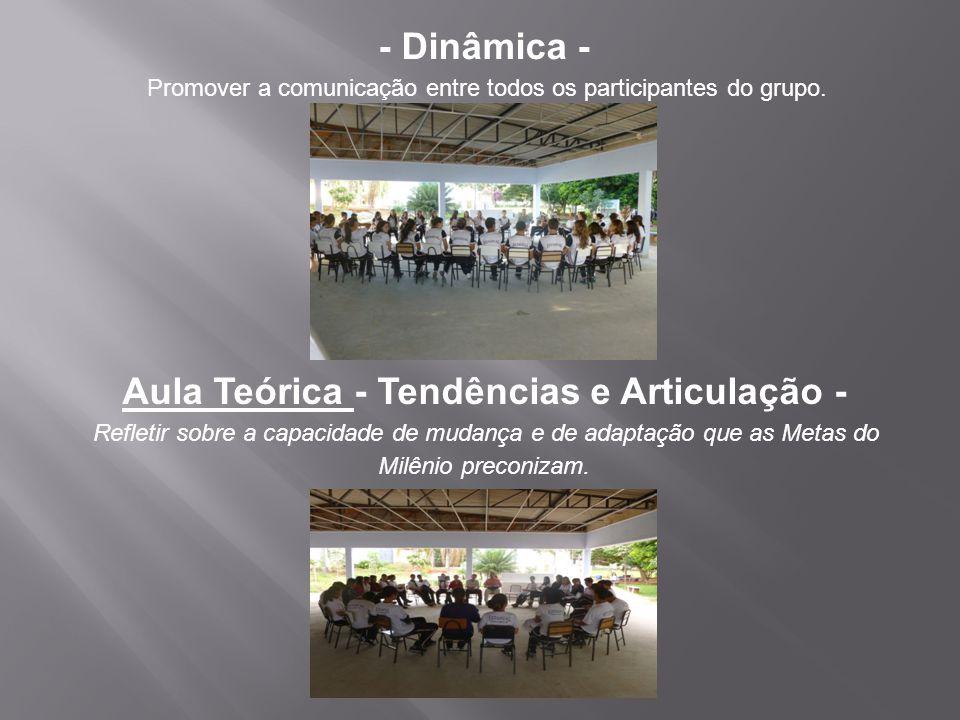 - Dinâmica - Promover a comunicação entre todos os participantes do grupo. Aula Teórica - Tendências e Articulação - Refletir sobre a capacidade de mu