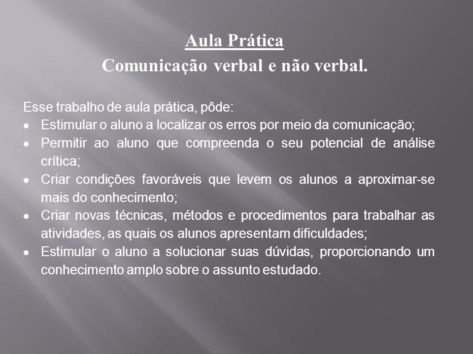 Aula Prática Comunicação verbal e não verbal. Esse trabalho de aula prática, pôde: Estimular o aluno a localizar os erros por meio da comunicação; Per