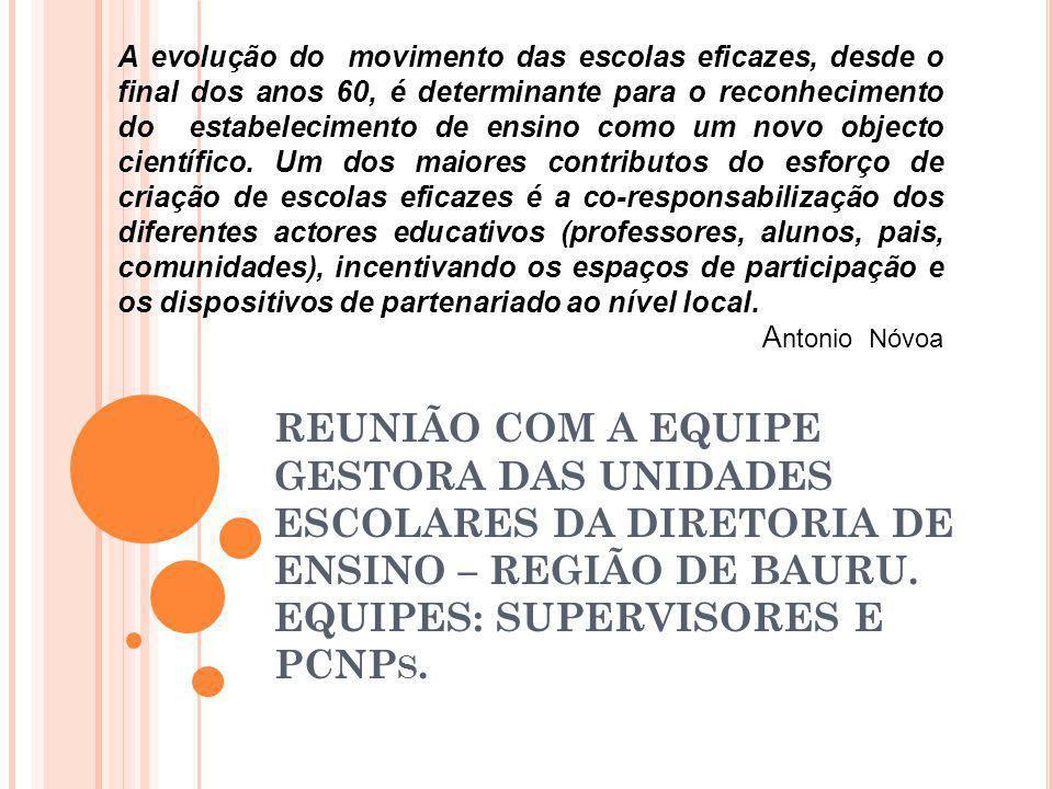 REUNIÃO COM A EQUIPE GESTORA DAS UNIDADES ESCOLARES DA DIRETORIA DE ENSINO – REGIÃO DE BAURU. EQUIPES: SUPERVISORES E PCNP S. A evolução do movimento