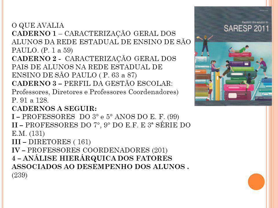 O QUE AVALIA CADERNO 1 – CARACTERIZAÇÃO GERAL DOS ALUNOS DA REDE ESTADUAL DE ENSINO DE SÃO PAULO. (P. 1 a 59) CADERNO 2 - CARACTERIZAÇÃO GERAL DOS PAI