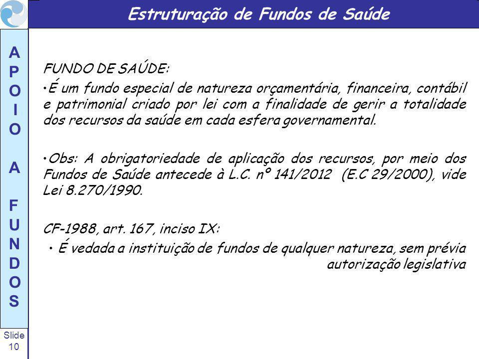 Slide 10 A P O I O A F U N D O S Estruturação de Fundos de Saúde FUNDO DE SAÚDE: É um fundo especial de natureza orçamentária, financeira, contábil e