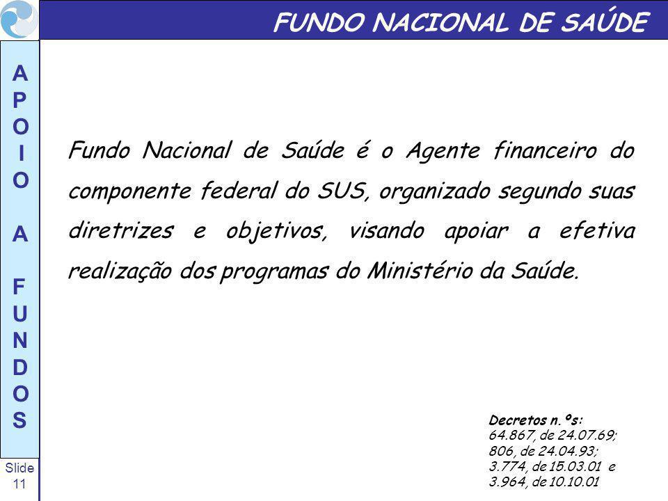 Slide 11 A P O I O A F U N D O S FUNDO NACIONAL DE SAÚDE Fundo Nacional de Saúde é o Agente financeiro do componente federal do SUS, organizado segund