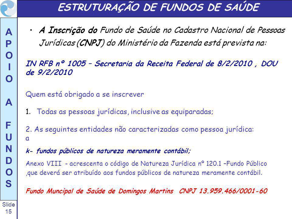 Slide 15 A P O I O A F U N D O S ESTRUTURAÇÃO DE FUNDOS DE SAÚDE A Inscrição do Fundo de Saúde no Cadastro Nacional de Pessoas Jurídicas (CNPJ) do Min