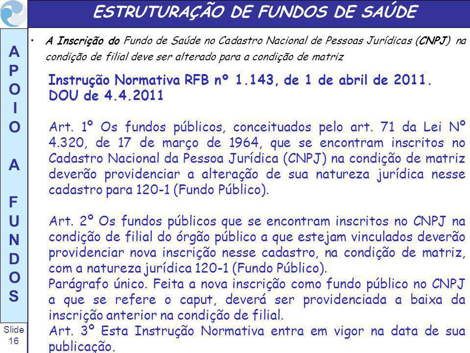 Slide 16 A P O I O A F U N D O S ESTRUTURAÇÃO DE FUNDOS DE SAÚDE A Inscrição do Fundo de Saúde no Cadastro Nacional de Pessoas Jurídicas (CNPJ) na con