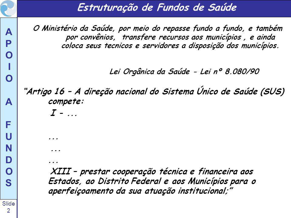 Slide 33 A P O I O A F U N D O S ESTRUTURAÇÃO DE FUNDOS DE SAÚDE A administração do Fundo de Saúde deve ser definida em função das atribuições e competências determinadas na Lei de sua criação, quando esta for abrangente, ou em atos normativos apropriados que a regulamentem, quando sintética; Há também os casos de municípios de pequeno porte, para estes, os fundos de saúde podem ser organizados de forma mais resumida, executando funções em conjunto com outros setores da entidade governamental, como por exemplo, compras, licitação, etc.