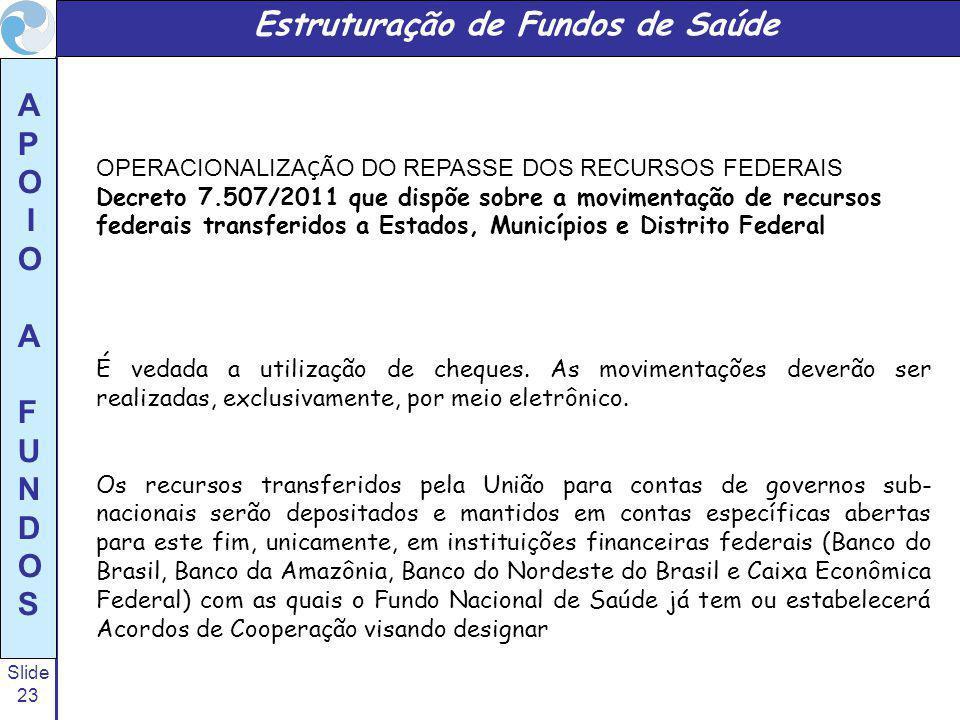 Slide 23 A P O I O A F U N D O S OPERACIONALIZA Ç ÃO DO REPASSE DOS RECURSOS FEDERAIS Decreto 7.507/2011 que dispõe sobre a movimentação de recursos f