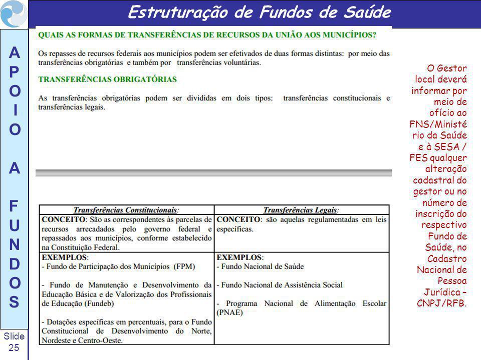 Slide 25 A P O I O A F U N D O S O Gestor local deverá informar por meio de ofício ao FNS/Ministé rio da Saúde e à SESA / FES qualquer alteração cadastral do gestor ou no número de inscrição do respectivo Fundo de Saúde, no Cadastro Nacional de Pessoa Jurídica – CNPJ/RFB.
