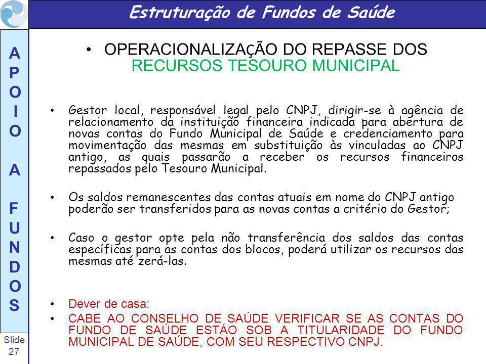 Slide 27 A P O I O A F U N D O S OPERACIONALIZA Ç ÃO DO REPASSE DOS RECURSOS TESOURO MUNICIPAL Gestor local, responsável legal pelo CNPJ, dirigir-se à