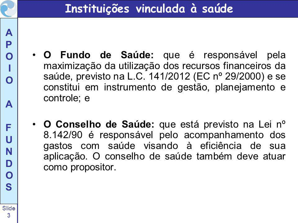 Slide 24 A P O I O A F U N D O S PORTARIA Nº 2.707, DE 17 DE NOVEMBRO DE 2011 Regulamenta, no âmbito do Sistema Único de Saúde, o § 5º do art.