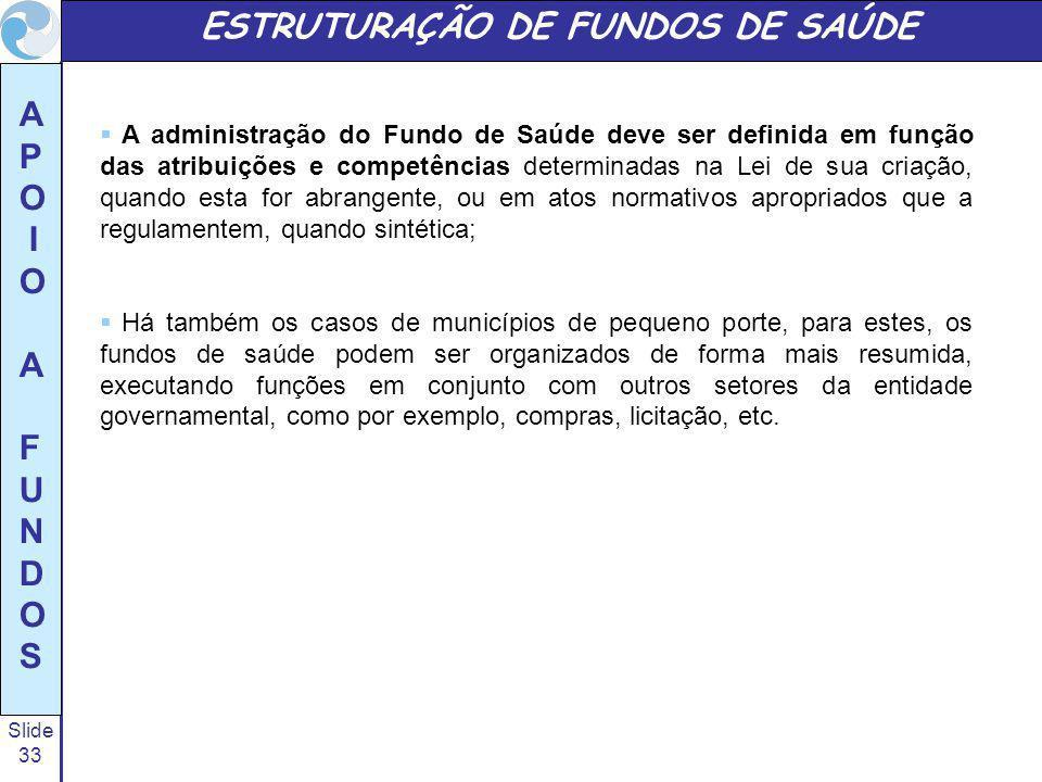 Slide 33 A P O I O A F U N D O S ESTRUTURAÇÃO DE FUNDOS DE SAÚDE A administração do Fundo de Saúde deve ser definida em função das atribuições e compe