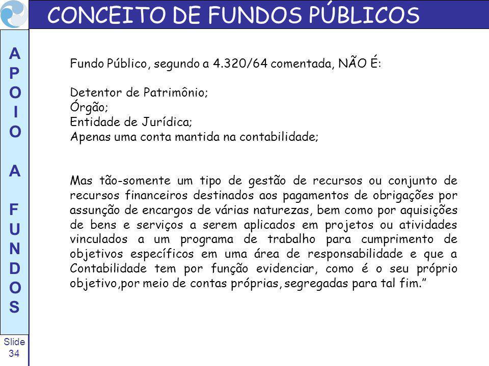 Slide 34 A P O I O A F U N D O S Fundo Público, segundo a 4.320/64 comentada, NÃO É: Detentor de Patrimônio; Órgão; Entidade de Jurídica; Apenas uma c