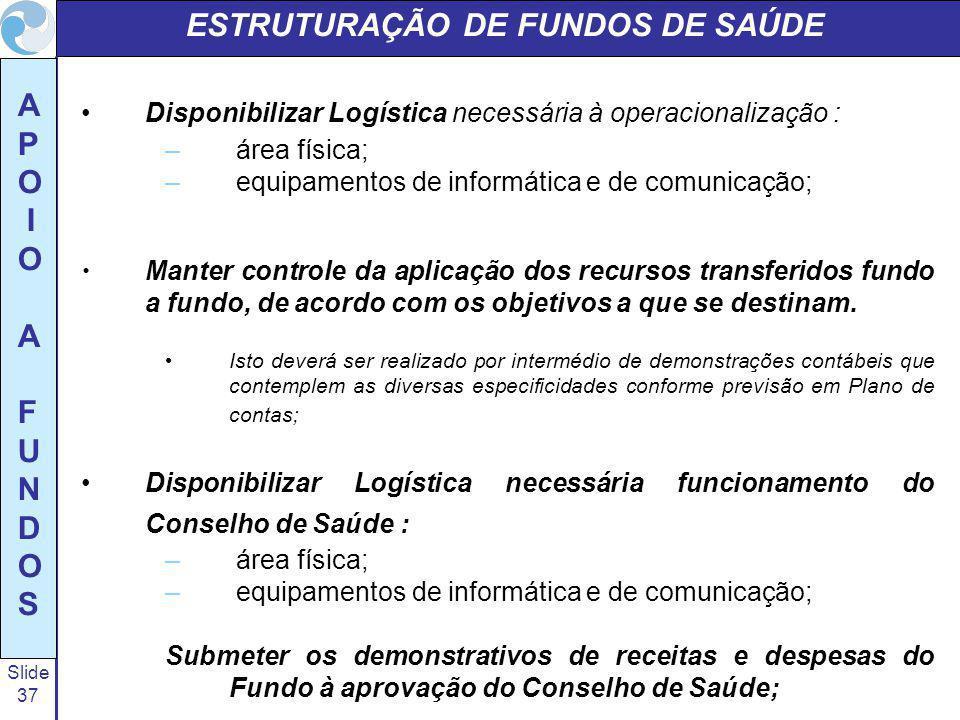 Slide 37 A P O I O A F U N D O S ESTRUTURAÇÃO DE FUNDOS DE SAÚDE Disponibilizar Logística necessária à operacionalização : – área física; – equipament