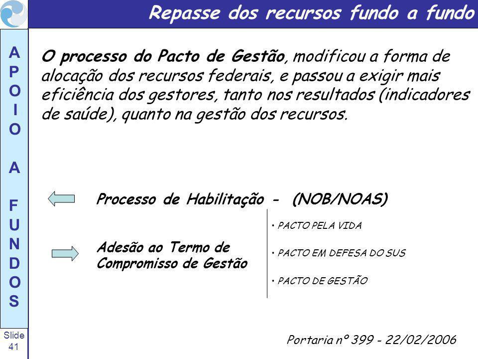 Slide 41 A P O I O A F U N D O S O processo do Pacto de Gestão, modificou a forma de alocação dos recursos federais, e passou a exigir mais eficiência dos gestores, tanto nos resultados (indicadores de saúde), quanto na gestão dos recursos.