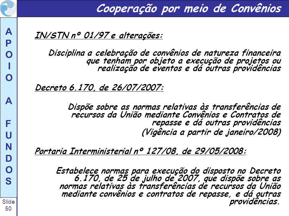 Slide 50 A P O I O A F U N D O S Cooperação por meio de Convênios IN/STN nº 01/97 e alterações: Disciplina a celebração de convênios de natureza financeira que tenham por objeto a execução de projetos ou realização de eventos e dá outras providências Decreto 6.170, de 26/07/2007: Dispõe sobre as normas relativas às transferências de recursos da União mediante Convênios e Contratos de repasse e dá outras providências (Vigência a partir de janeiro/2008) Portaria Interministerial nº 127/08, de 29/05/2008: Estabelece normas para execução do disposto no Decreto 6.170, de 25 de julho de 2007, que dispõe sobre as normas relativas às transferências de recursos da União mediante convênios e contratos de repasse, e dá outras providências.