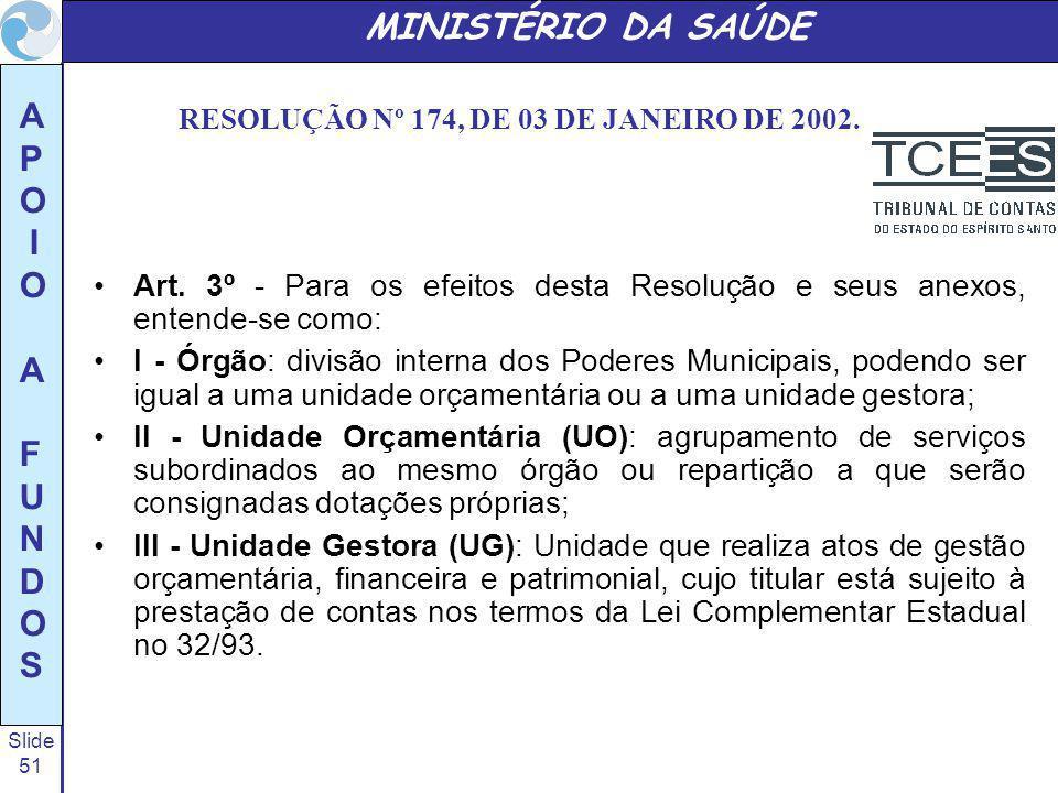 Slide 51 A P O I O A F U N D O S MINISTÉRIO DA SAÚDE RESOLUÇÃO Nº 174, DE 03 DE JANEIRO DE 2002. Art. 3º - Para os efeitos desta Resolução e seus anex