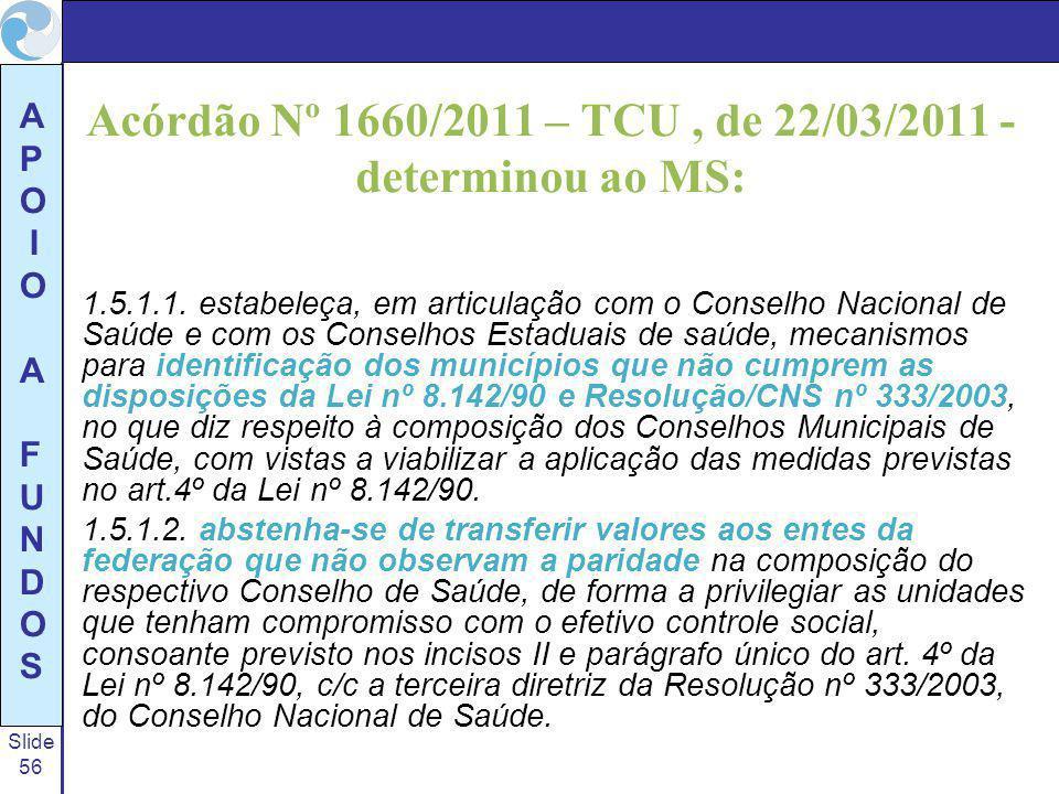 Slide 56 A P O I O A F U N D O S Acórdão Nº 1660/2011 – TCU, de 22/03/2011 - determinou ao MS: 1.5.1.1. estabeleça, em articulação com o Conselho Naci