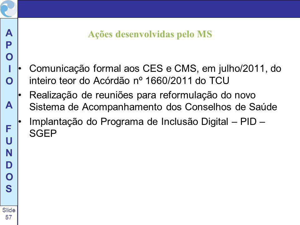 Slide 57 A P O I O A F U N D O S Ações desenvolvidas pelo MS Comunicação formal aos CES e CMS, em julho/2011, do inteiro teor do Acórdão nº 1660/2011