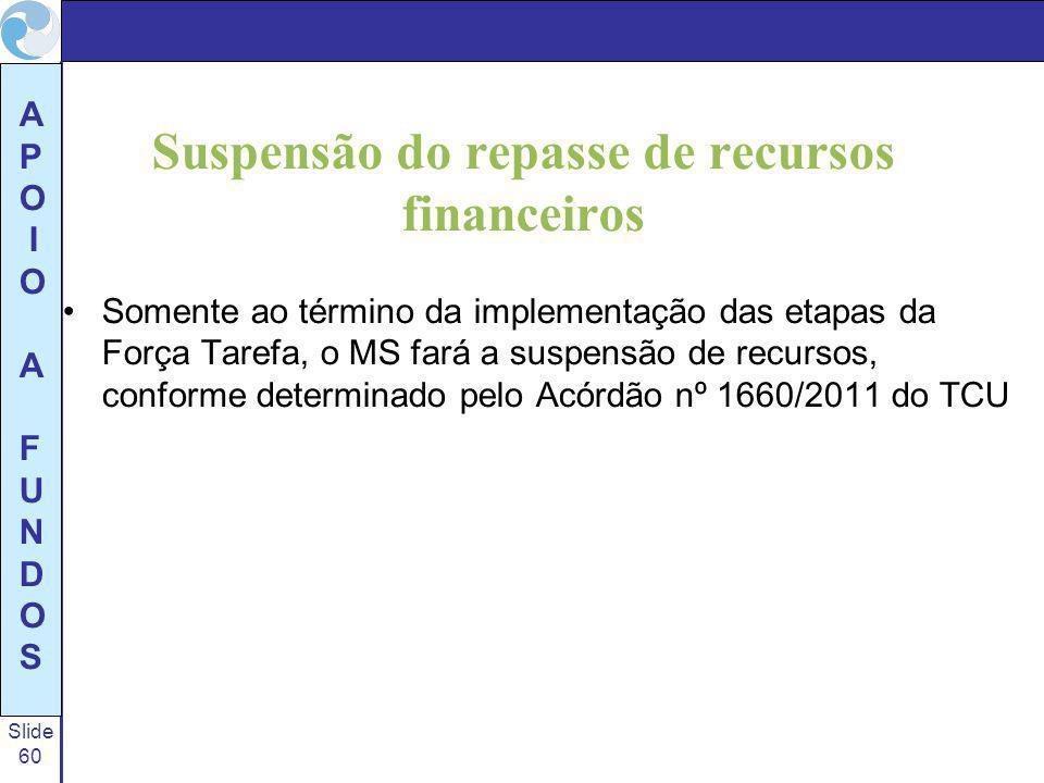 Slide 60 A P O I O A F U N D O S Suspensão do repasse de recursos financeiros Somente ao término da implementação das etapas da Força Tarefa, o MS far