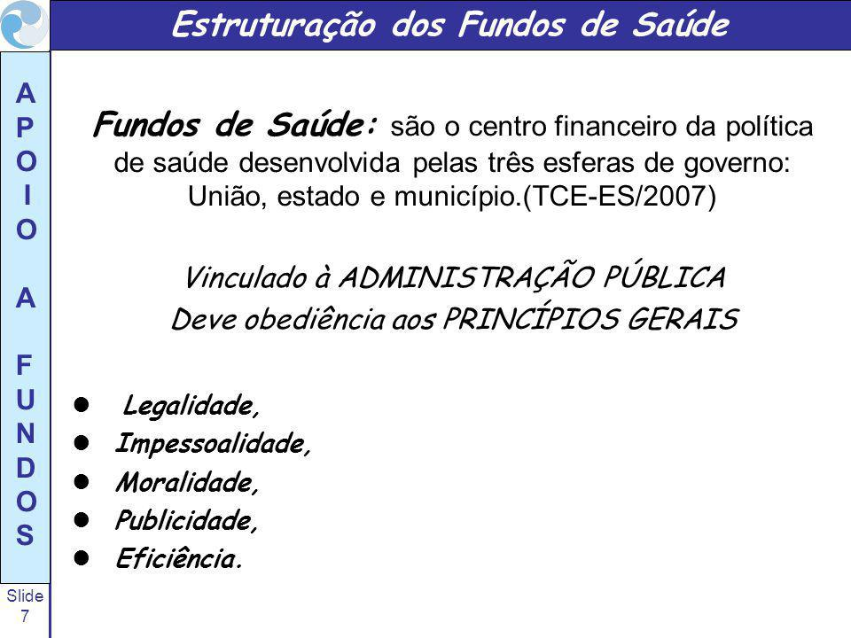 Slide 7 A P O I O A F U N D O S Fundos de Saúde: são o centro financeiro da política de saúde desenvolvida pelas três esferas de governo: União, estad