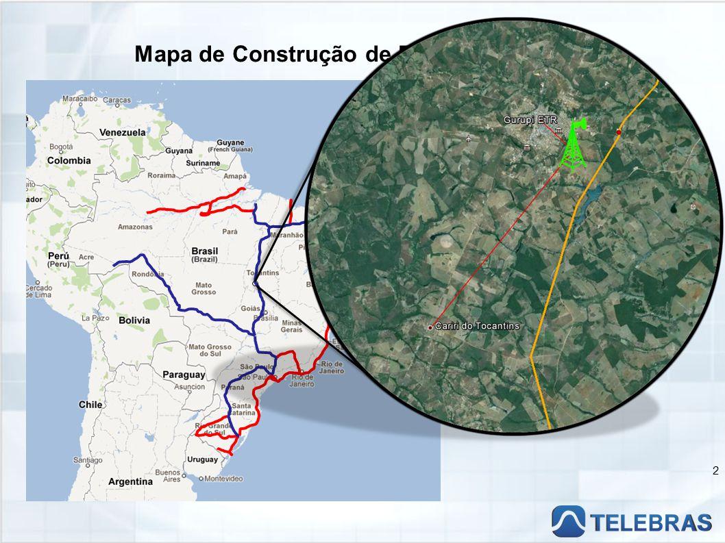 Mapa de Construção de Rede TELEBRAS 2 Em Operação Em Implantação