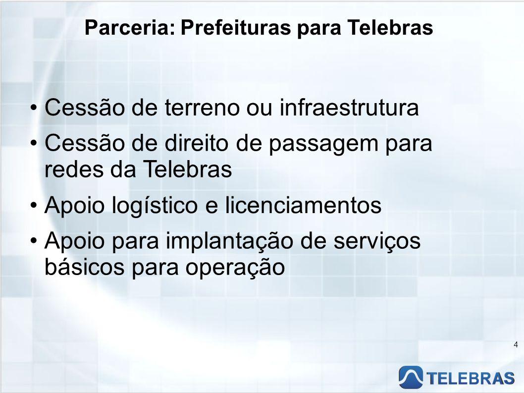 Parceria: Telebras para Prefeituras 5 Fornecimento de banda larga em contrapartida a terrenos ou infra cedidos Apoio às prefeituras em implementação de programas de Gestão de TI e Ferramentas Administrativas do e-Gov.