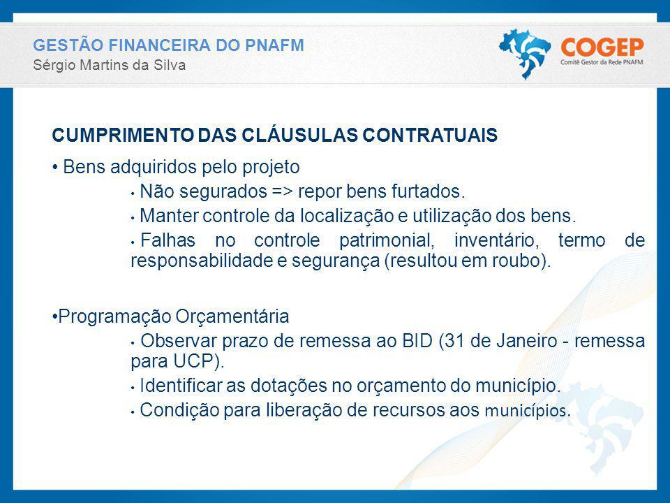 GESTÃO FINANCEIRA DO PNAFM Sérgio Martins da Silva CUMPRIMENTO DAS CLÁUSULAS CONTRATUAIS Bens adquiridos pelo projeto Não segurados => repor bens furtados.