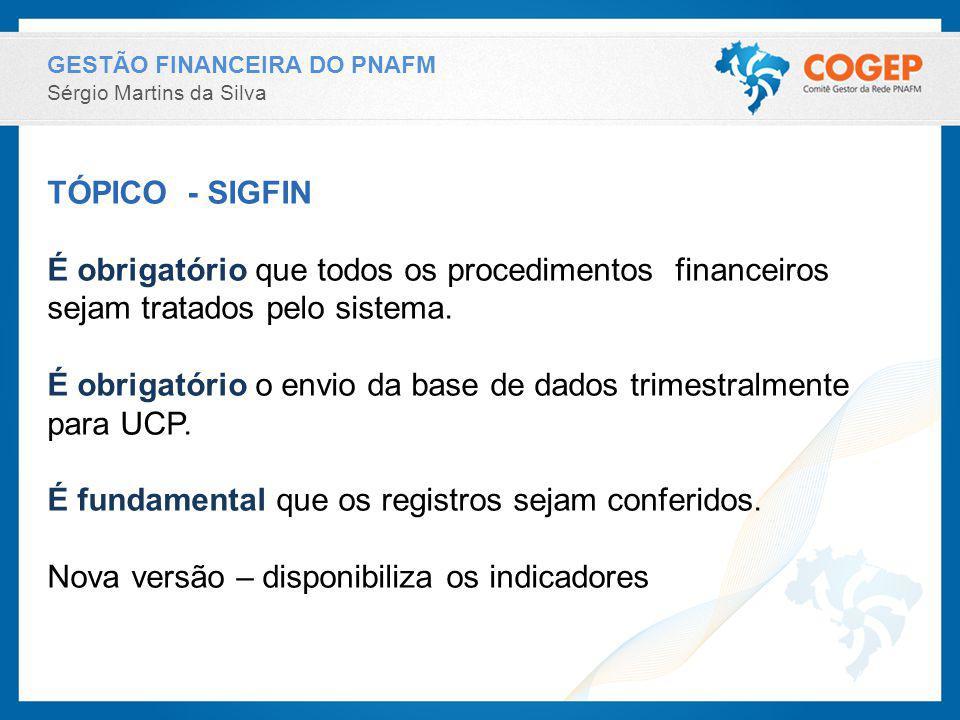 GESTÃO FINANCEIRA DO PNAFM Sérgio Martins da Silva TÓPICO - SIGFIN É obrigatório que todos os procedimentos financeiros sejam tratados pelo sistema. É