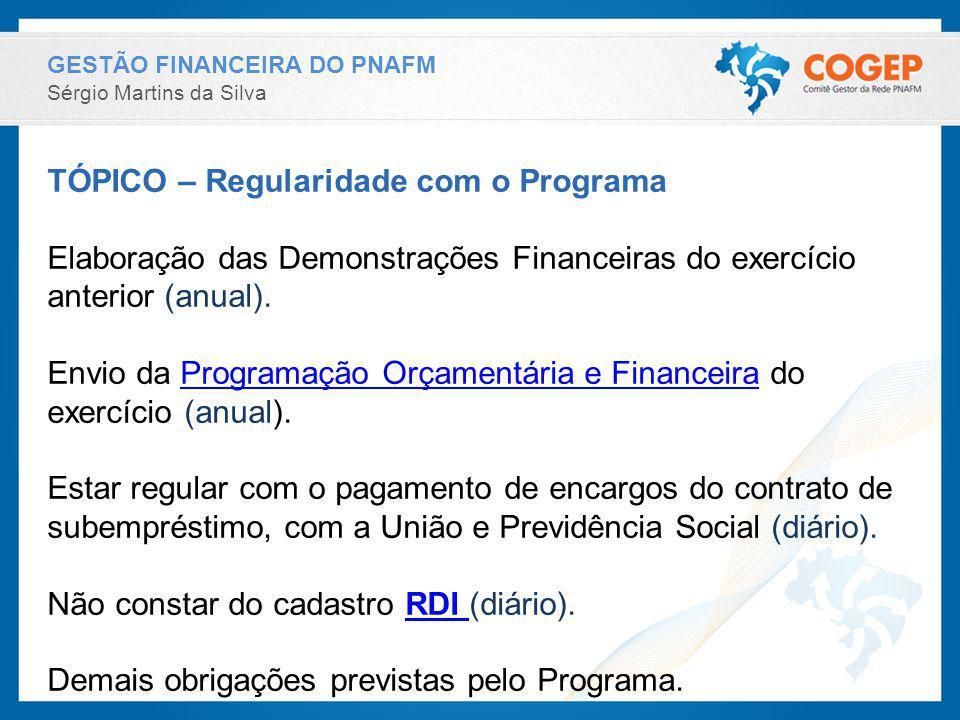 GESTÃO FINANCEIRA DO PNAFM Sérgio Martins da Silva TÓPICO – Regularidade com o Programa Elaboração das Demonstrações Financeiras do exercício anterior