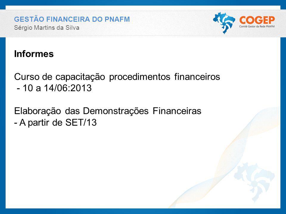 GESTÃO FINANCEIRA DO PNAFM Sérgio Martins da Silva Informes Curso de capacitação procedimentos financeiros - 10 a 14/06:2013 Elaboração das Demonstraç