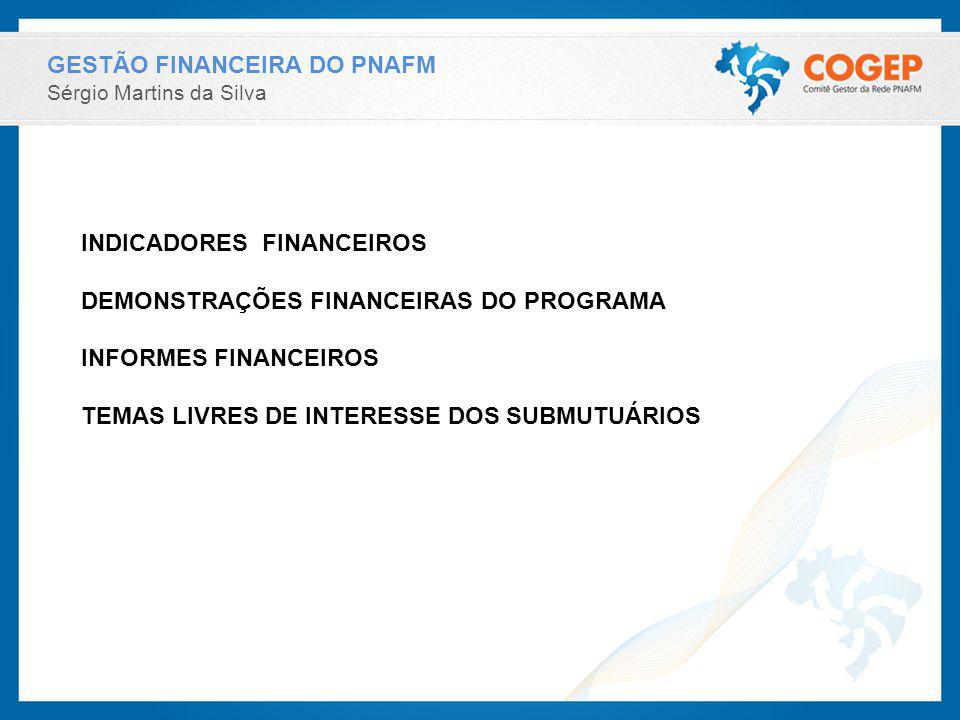 GESTÃO FINANCEIRA DO PNAFM Sérgio Martins da Silva INDICADORES FINANCEIROS DEMONSTRAÇÕES FINANCEIRAS DO PROGRAMA INFORMES FINANCEIROS TEMAS LIVRES DE