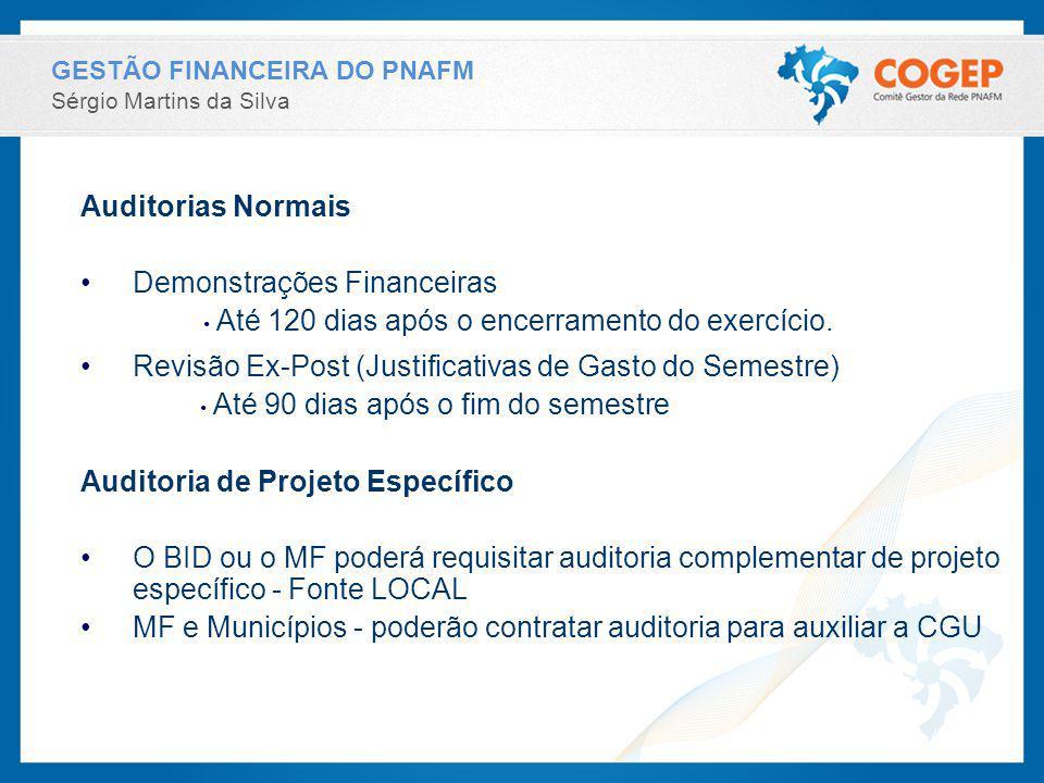 GESTÃO FINANCEIRA DO PNAFM Sérgio Martins da Silva Auditorias Normais Demonstrações Financeiras Até 120 dias após o encerramento do exercício. Revisão