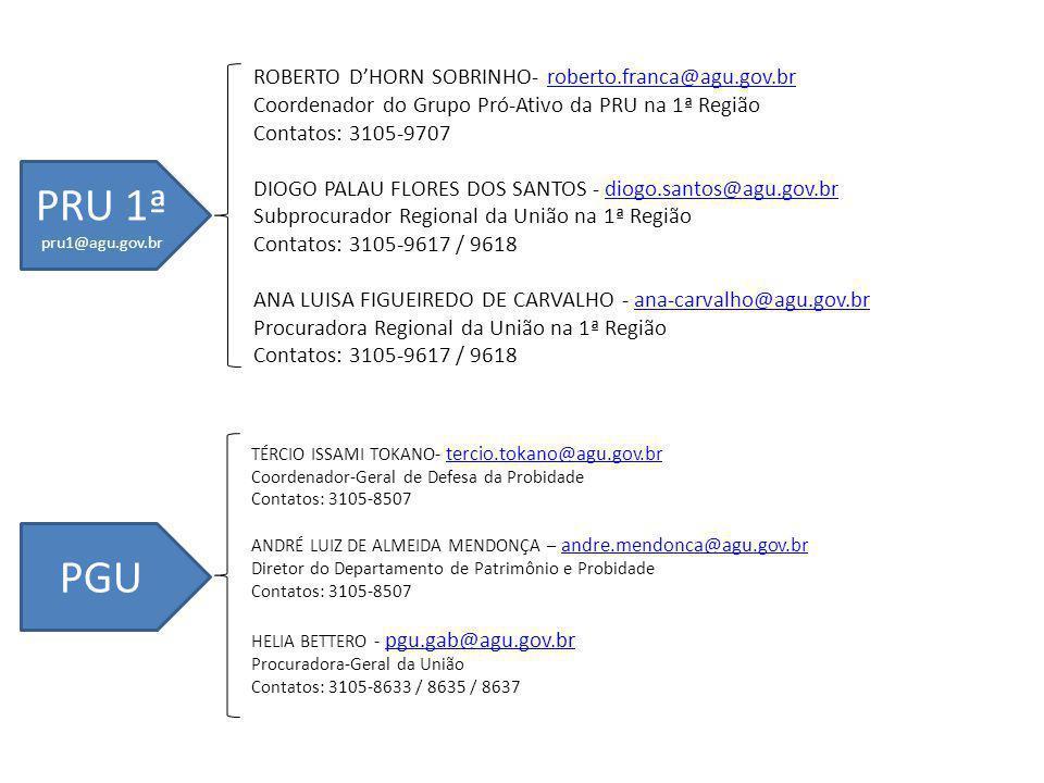 ROBERTO DHORN SOBRINHO- roberto.franca@agu.gov.brroberto.franca@agu.gov.br Coordenador do Grupo Pró-Ativo da PRU na 1ª Região Contatos: 3105-9707 DIOGO PALAU FLORES DOS SANTOS - diogo.santos@agu.gov.brdiogo.santos@agu.gov.br Subprocurador Regional da União na 1ª Região Contatos: 3105-9617 / 9618 ANA LUISA FIGUEIREDO DE CARVALHO - ana-carvalho@agu.gov.brana-carvalho@agu.gov.br Procuradora Regional da União na 1ª Região Contatos: 3105-9617 / 9618 PRU 1ª pru1@agu.gov.br PGU TÉRCIO ISSAMI TOKANO- tercio.tokano@agu.gov.br tercio.tokano@agu.gov.br Coordenador-Geral de Defesa da Probidade Contatos: 3105-8507 ANDRÉ LUIZ DE ALMEIDA MENDONÇA – andre.mendonca@agu.gov.br andre.mendonca@agu.gov.br Diretor do Departamento de Patrimônio e Probidade Contatos: 3105-8507 HELIA BETTERO - pgu.gab@agu.gov.br pgu.gab@agu.gov.br Procuradora-Geral da União Contatos: 3105-8633 / 8635 / 8637