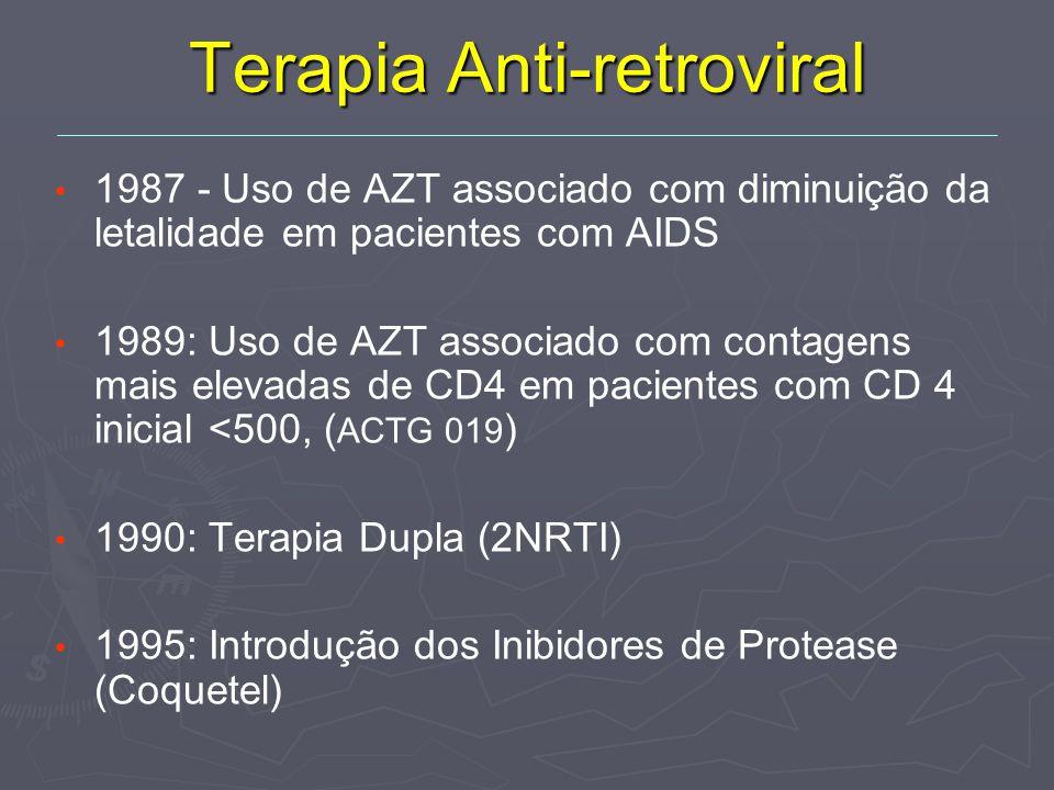 Terapia Anti-retroviral 1987 - Uso de AZT associado com diminuição da letalidade em pacientes com AIDS 1989: Uso de AZT associado com contagens mais elevadas de CD4 em pacientes com CD 4 inicial <500, ( ACTG 019 ) 1990: Terapia Dupla (2NRTI) 1995: Introdução dos Inibidores de Protease (Coquetel)