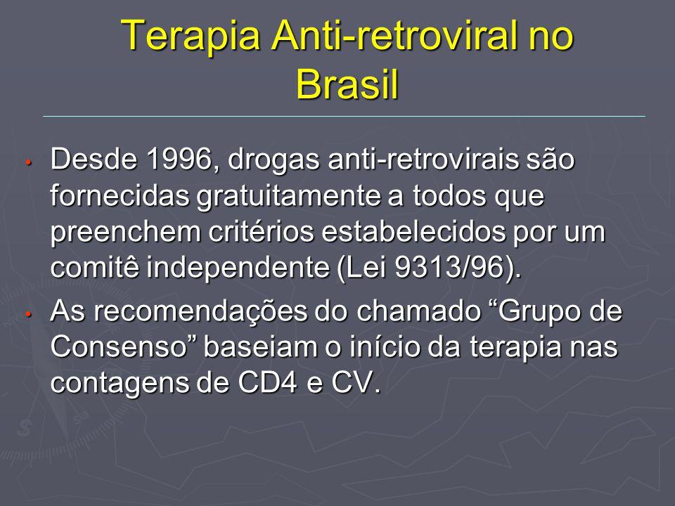 Terapia Anti-retroviral no Brasil Desde 1996, drogas anti-retrovirais são fornecidas gratuitamente a todos que preenchem critérios estabelecidos por um comitê independente (Lei 9313/96).