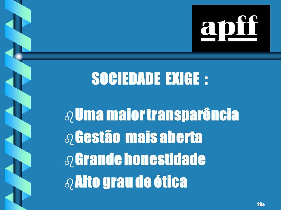 SOCIEDADE EXIGE : b b Uma maior transparência b b Gestão mais aberta b b Grande honestidade b b Alto grau de ética 28a
