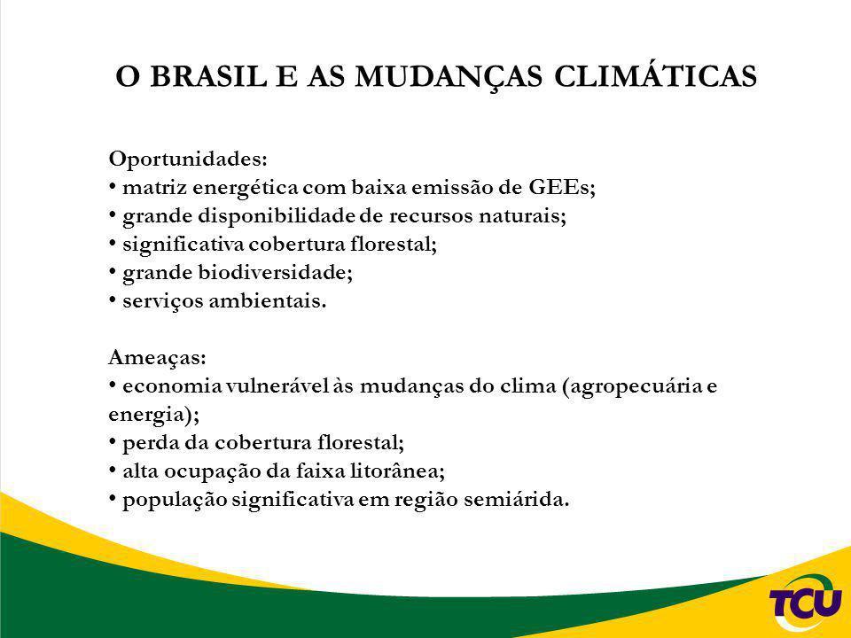 O BRASIL E AS MUDANÇAS CLIMÁTICAS Oportunidades: matriz energética com baixa emissão de GEEs; grande disponibilidade de recursos naturais; significati