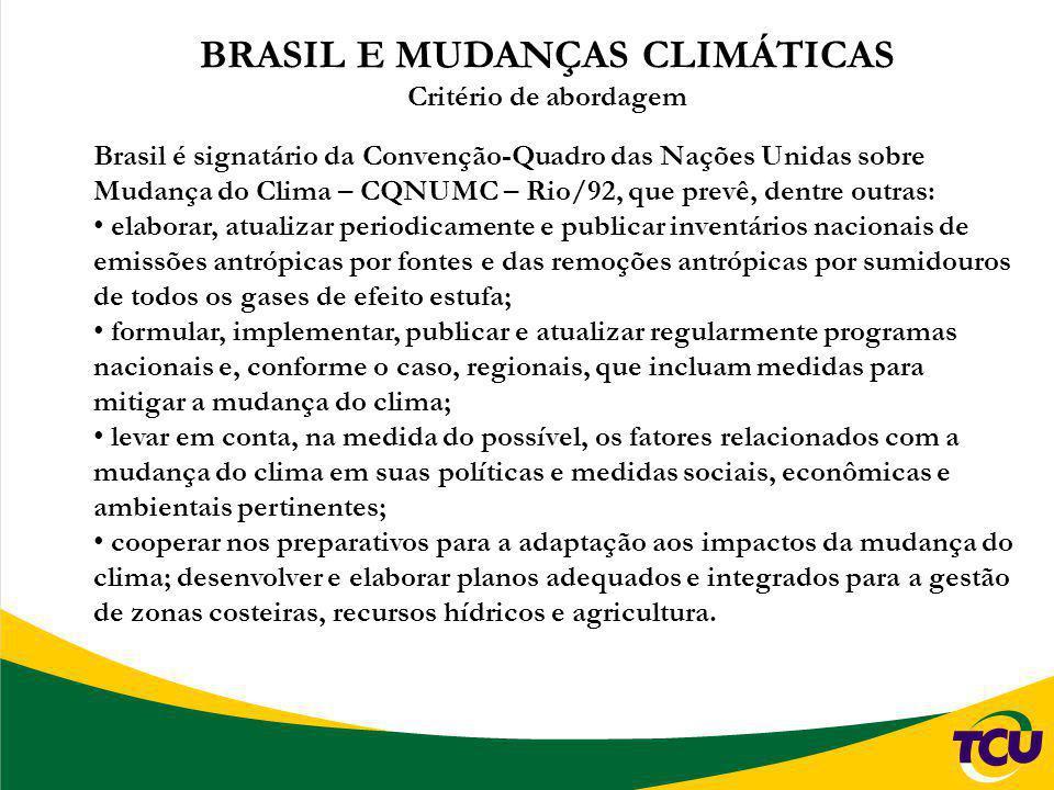 BRASIL E MUDANÇAS CLIMÁTICAS Critério de abordagem Brasil é signatário da Convenção-Quadro das Nações Unidas sobre Mudança do Clima – CQNUMC – Rio/92,