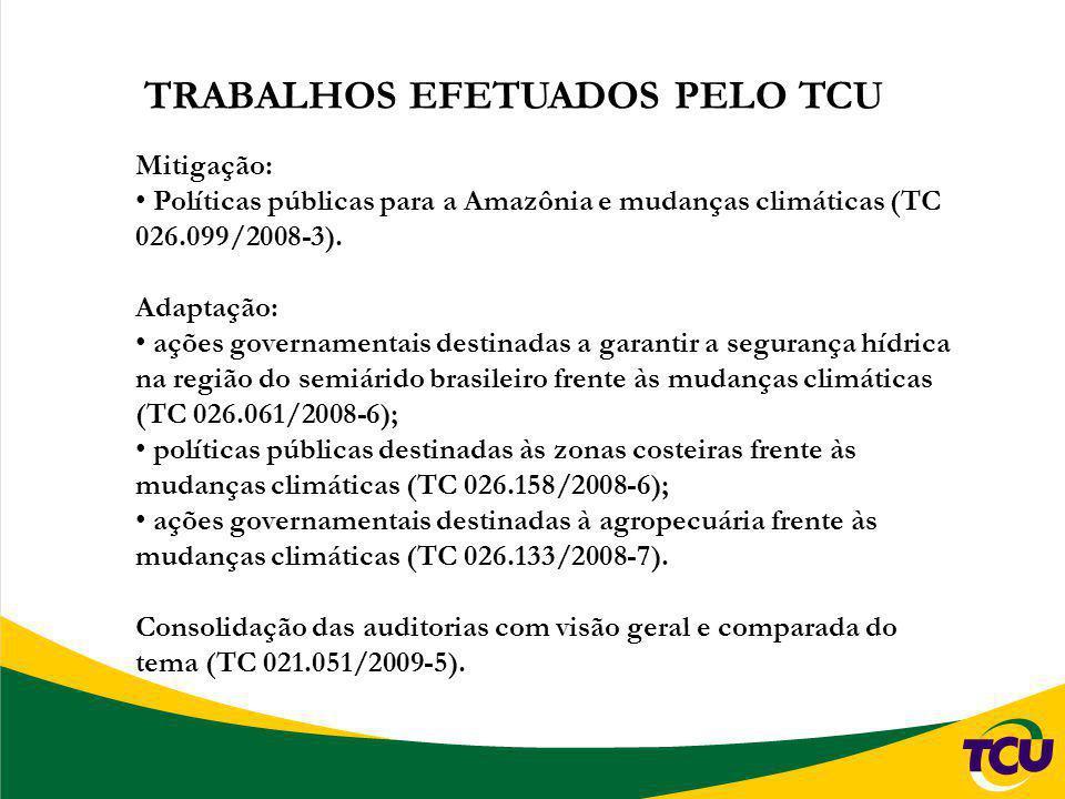 TRABALHOS EFETUADOS PELO TCU Mitigação: Políticas públicas para a Amazônia e mudanças climáticas (TC 026.099/2008-3). Adaptação: ações governamentais