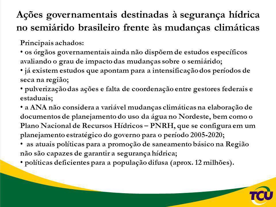 Ações governamentais destinadas à segurança hídrica no semiárido brasileiro frente às mudanças climáticas Principais achados: os órgãos governamentais