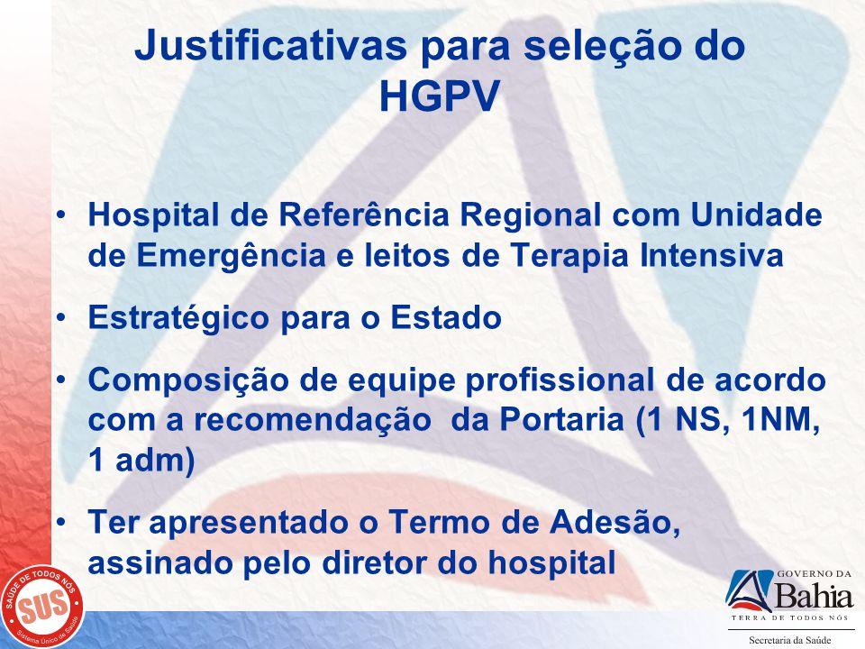 Justificativas para seleção do HGPV Hospital de Referência Regional com Unidade de Emergência e leitos de Terapia Intensiva Estratégico para o Estado Composição de equipe profissional de acordo com a recomendação da Portaria (1 NS, 1NM, 1 adm) Ter apresentado o Termo de Adesão, assinado pelo diretor do hospital