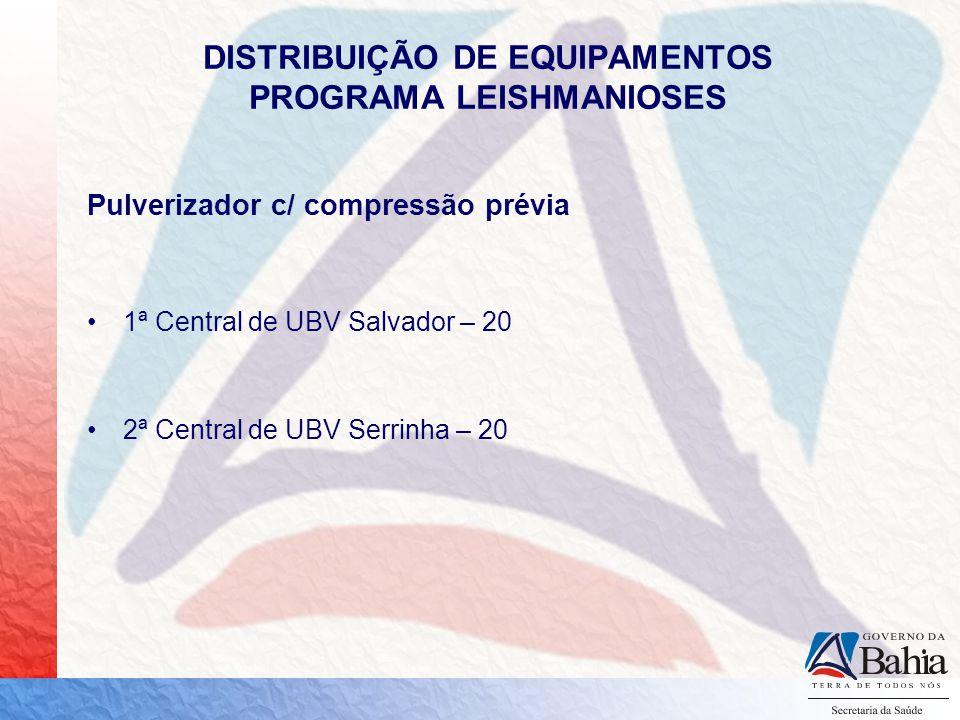 DISTRIBUIÇÃO DE EQUIPAMENTOS PROGRAMA LEISHMANIOSES Pulverizador c/ compressão prévia 1ª Central de UBV Salvador – 20 2ª Central de UBV Serrinha – 20