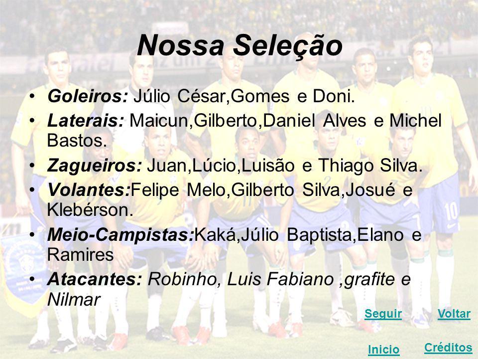Nossa Seleção Goleiros: Júlio César,Gomes e Doni.