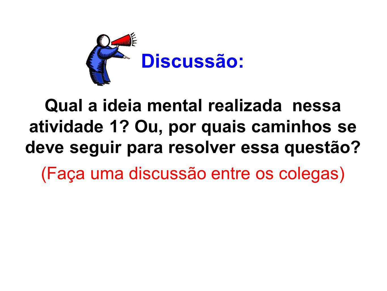 Discussão: Qual a ideia mental realizada nessa atividade 1? Ou, por quais caminhos se deve seguir para resolver essa questão? (Faça uma discussão entr