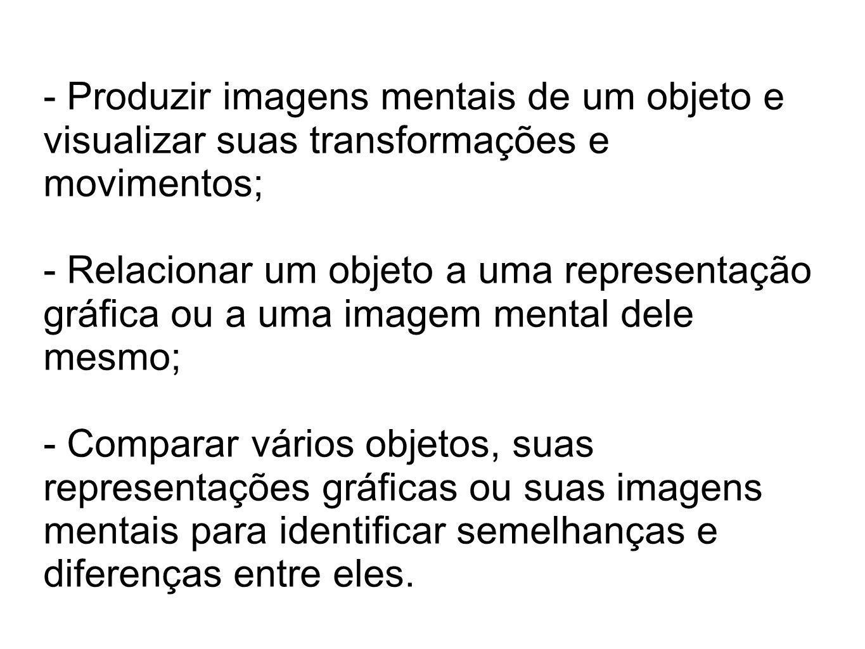 - Produzir imagens mentais de um objeto e visualizar suas transformações e movimentos; - Relacionar um objeto a uma representação gráfica ou a uma ima