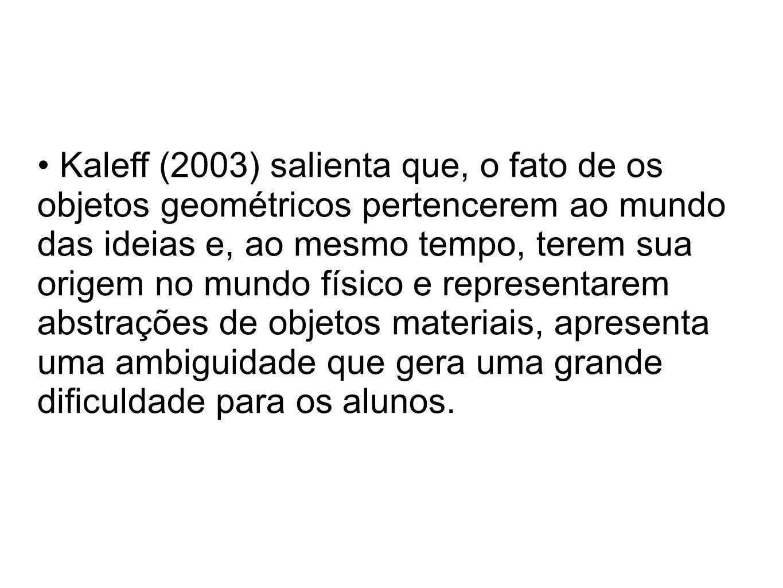 Kaleff (2003) salienta que, o fato de os objetos geométricos pertencerem ao mundo das ideias e, ao mesmo tempo, terem sua origem no mundo físico e rep