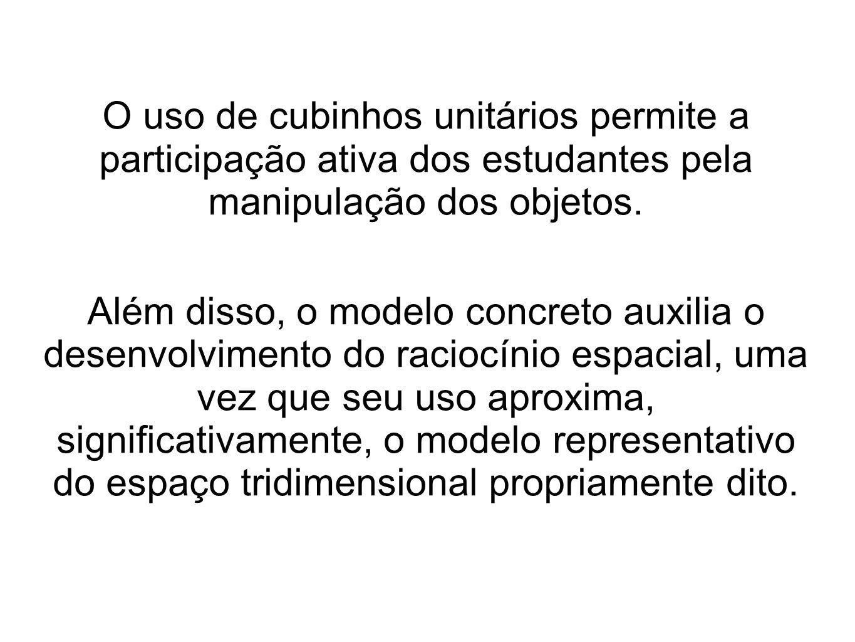O uso de cubinhos unitários permite a participação ativa dos estudantes pela manipulação dos objetos. Além disso, o modelo concreto auxilia o desenvol
