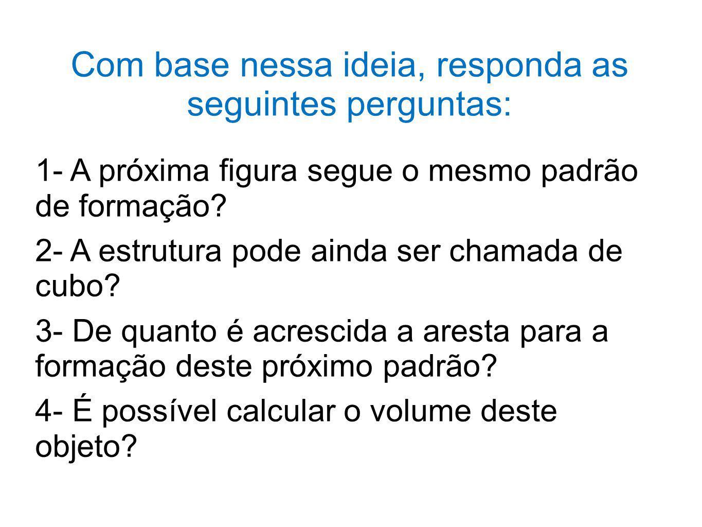 Com base nessa ideia, responda as seguintes perguntas: 1- A próxima figura segue o mesmo padrão de formação? 2- A estrutura pode ainda ser chamada de